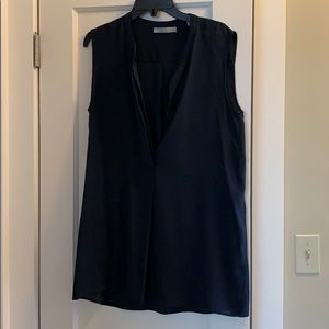 Deep navy/teal silk sleeveless tunic